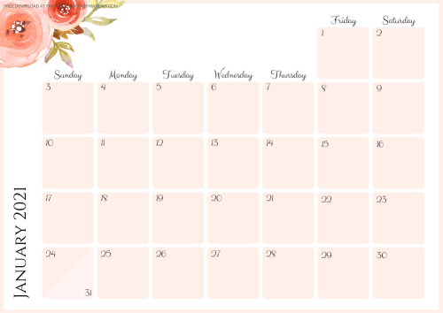 Free Printable Pretty 2021 Monthly Calendar And Weekly Planner PDF #freeprintable #printablesandinspirations SEE PREVIOUS POST TO DOWNLOAD THE PDF