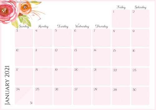 Free Printable Pink 2021 Monthly Calendar And Weekly Planner PDF #freeprintable #printablesandinspirations SEE PREVIOUS POST TO DOWNLOAD THE PDF