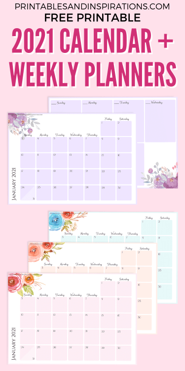 Free Printable 2021 Monthly Calendar And Weekly Planner - 4 beautiful calendars for A4 size or A5 size with flowers. Free pdf download now! #freeprintable #printablesandinspirations
