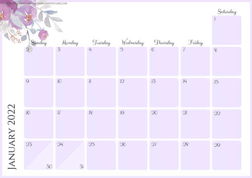 JANUARY 2022 purple calendar - free printable monthly planner with pretty flowers #printablesandinspirations - SEE PREVIOUS POST TO DOWNLOAD THE COMPLETE 2022 CALENDAR