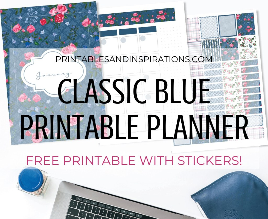 Free Printable Classic Blue Planner And Planner Stickers - inspired by Pantone 2020 color of the year, free printable planner, bullet journal printable, printable planner stickers #freeprintable #printablesandinspirations #bulletjournal #planneraddict #plannerstickers #bujoideas
