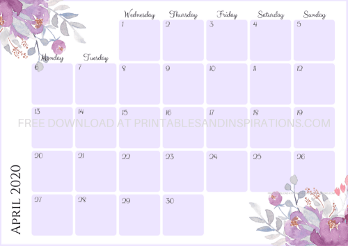 Free Printable Purple / Lavender 2020 Monthly Calendar And Weekly Planner - 4 beautiful calendars for A4 size or A5 size with flowers. Free pdf download now! #freeprintable #printablesandinspirations