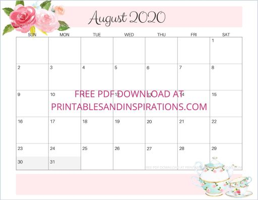 August 2020 calendar free printable #printablesandinspirations #freeprintable
