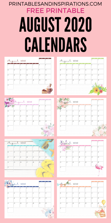 AUGUST 2020 Monthly Calendar Free Printable PDF - 2020 monthly calendar. Get your free download now! #freeprintable #printablesandinspirations