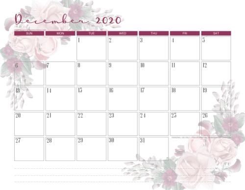 Printable December 2020 calendar - pretty floral calendar - #printablesandinspirations #freeprintable SEE PREVIOUS POST TO DOWNLOAD THE PDF FILE