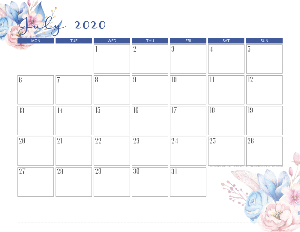 JULY 2020 classic blue calendar printable - free printable monthly planner #freeprintable #printablesandinspirations