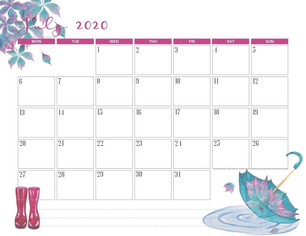 JULY 2020 cute calendar printable - free printable monthly planner #freeprintable #printablesandinspirations