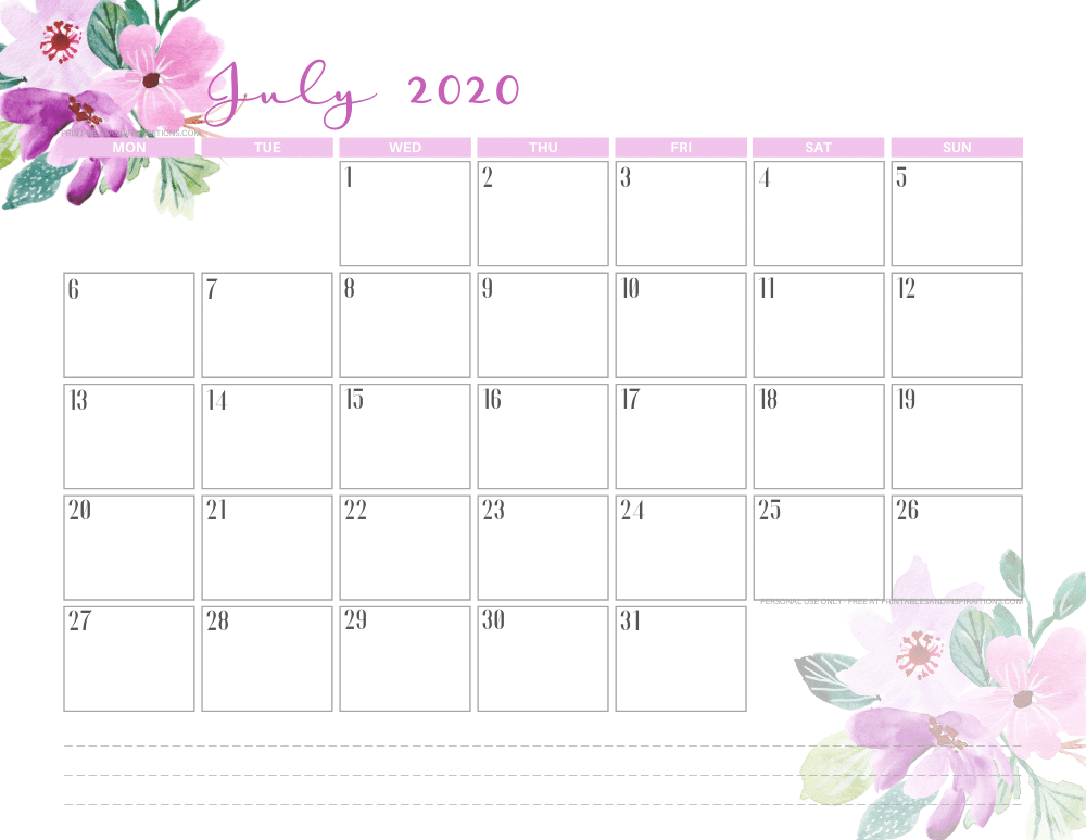 JULY 2020 purple calendar printable - free printable monthly planner #freeprintable #printablesandinspirations