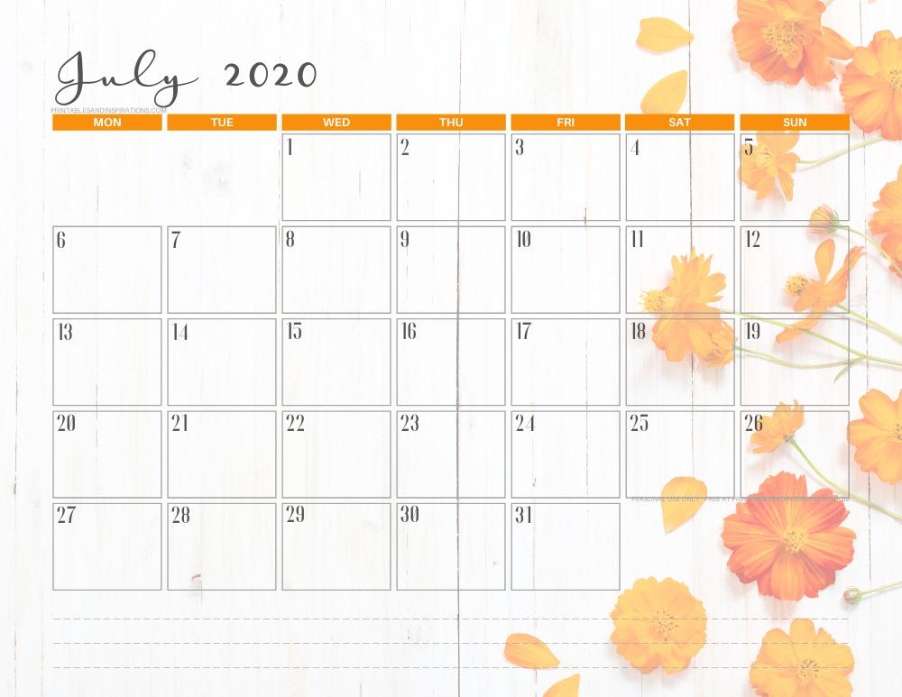 JULY 2020 summer calendar printable - free printable monthly planner #freeprintable #printablesandinspirations
