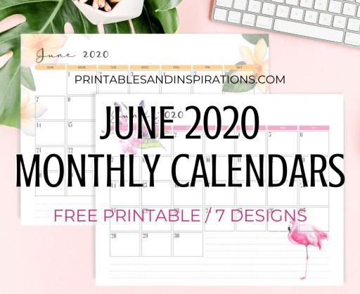 JUNE 2020 Monthly Calendar Free Printable PDF - 2020 monthly calendar. Get your free download now! #freeprintable #printablesandinspirations