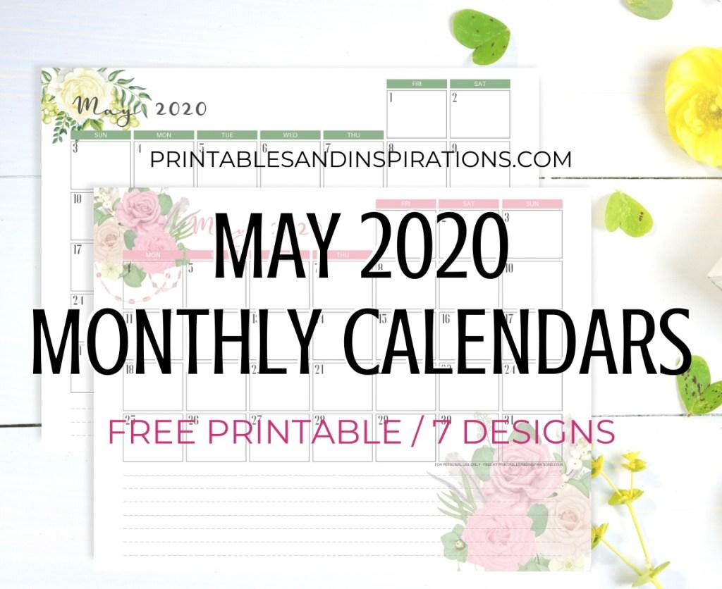 May 2020 Monthly Calendar Free Printable PDF - 2020 monthly calendar. Get your free download now! #freeprintable #printablesandinspirations