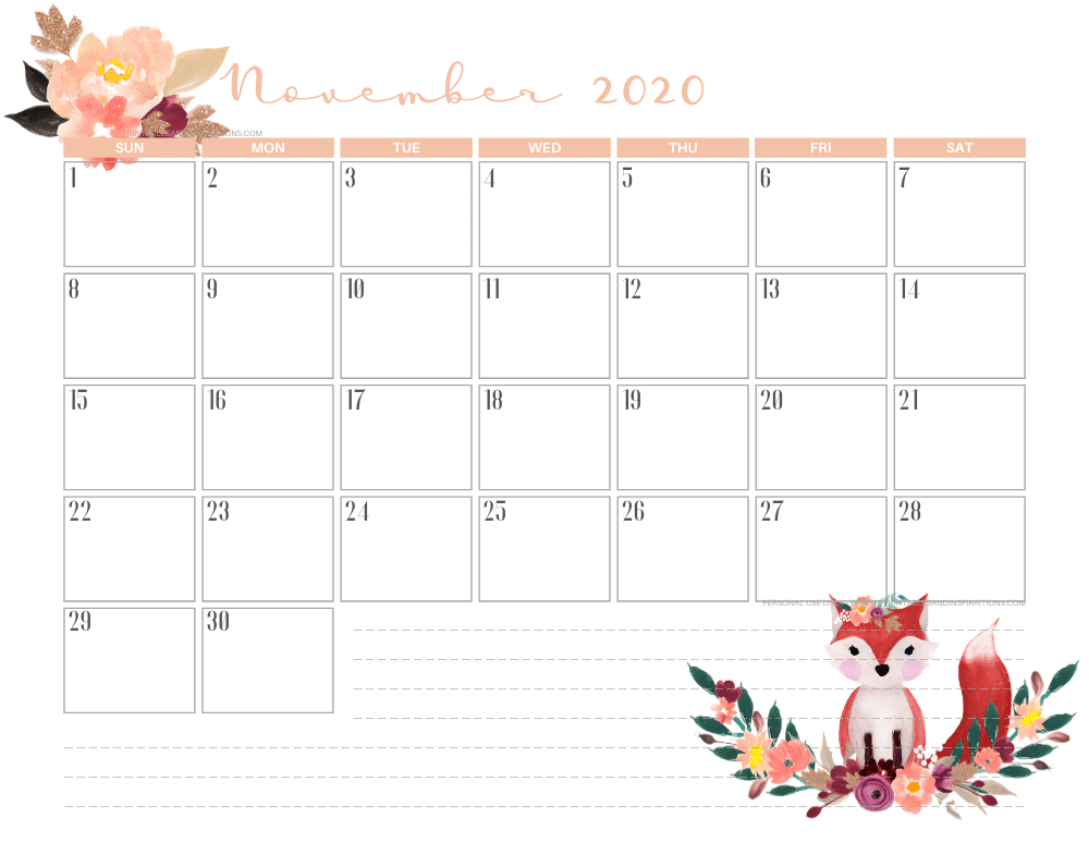 Free printable November 2020 calendar AUTUMN FOX theme