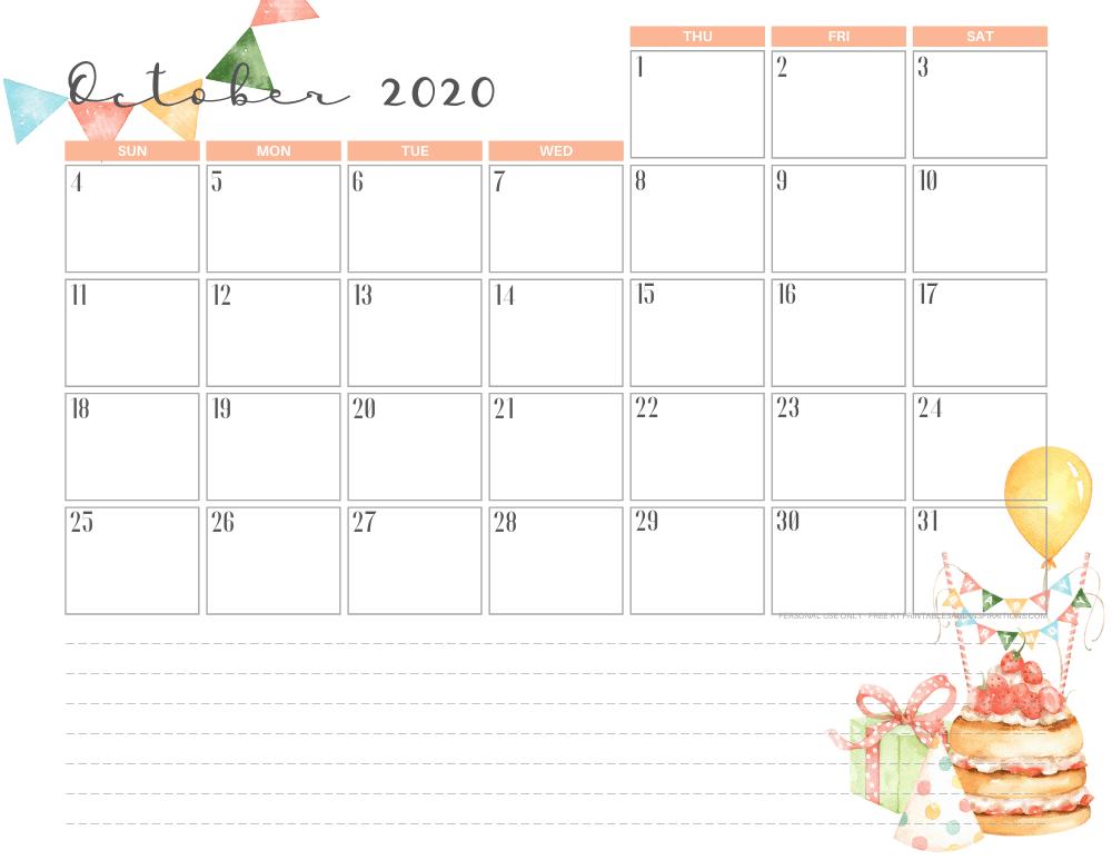Free printable October 2020 calendar birthday theme