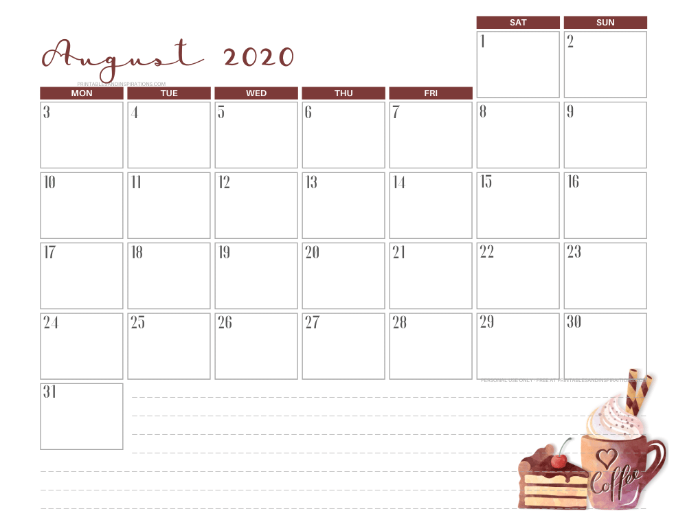 AUGUST 2020 coffee calendar printable - free printable monthly planner #freeprintable #printablesandinspirations