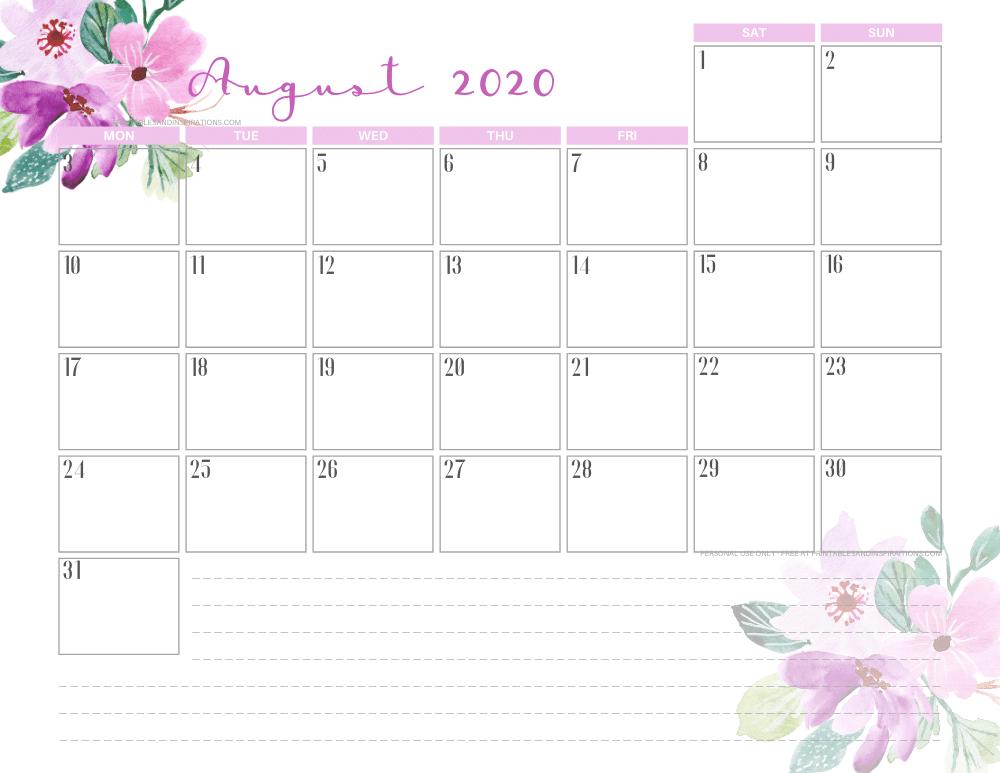 AUGUST 2020 purple calendar printable - free printable monthly planner #freeprintable #printablesandinspirations
