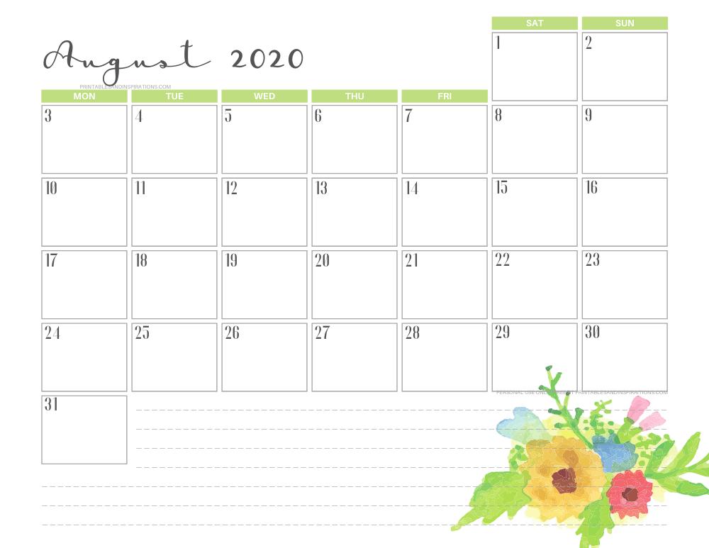 AUGUST 2020 floral calendar printable - free printable monthly planner #freeprintable #printablesandinspirations