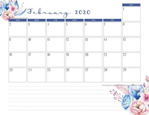 February 2020 calendar PDF - free printable monthly planner with classic blue theme. #freeprintable #printablesandinspirations