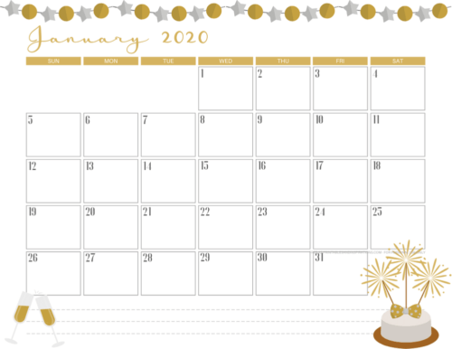 January 2020 calendar PDF - free printable monthly planner with new year theme. #freeprintable #printablesandinspirations