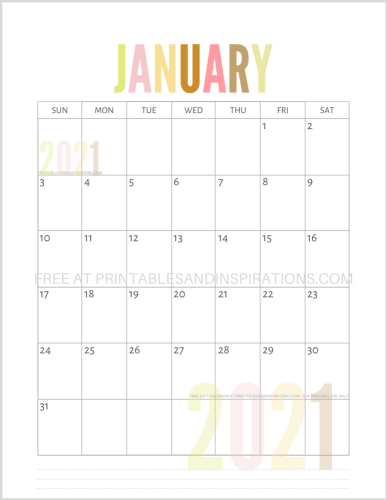 January 2021 calendar free printable pdf - downloadable 2021 monthly calendar