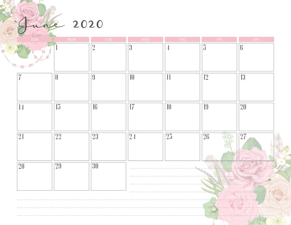 June 2020 pink calendar printable - free printable monthly planner #freeprintable #printablesandinspirations