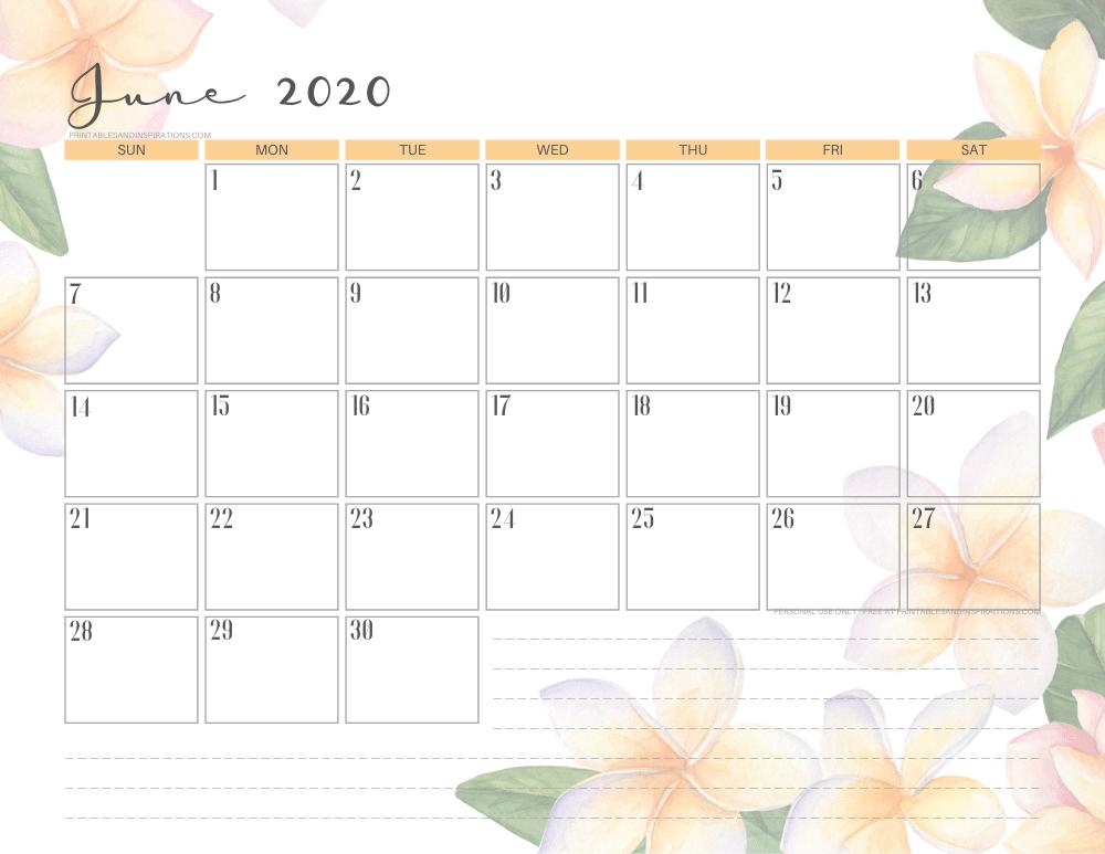 June 2020 calendar printable - free printable tropical monthly planner #freeprintable #printablesandinspirations