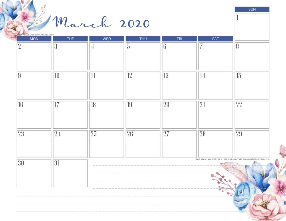 March 2020 calendar PDF - free printable monthly planner classic blue theme #freeprintable #printablesandinspirations