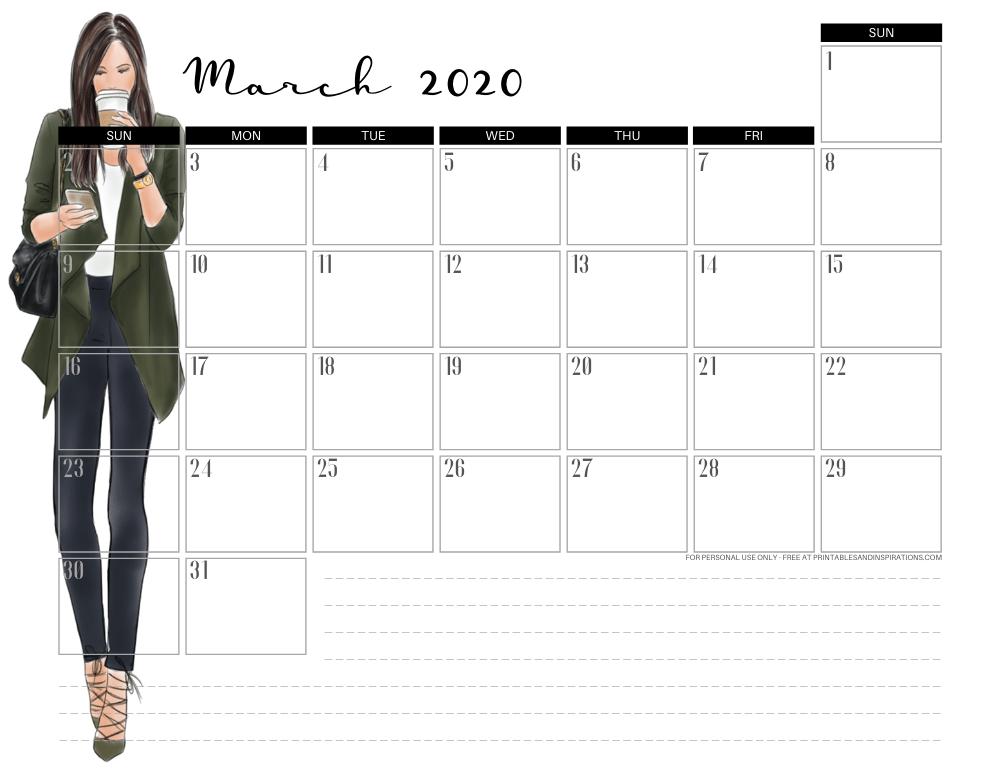 March 2020 calendar PDF - free printable monthly planner for girl boss. #freeprintable #printablesandinspirations
