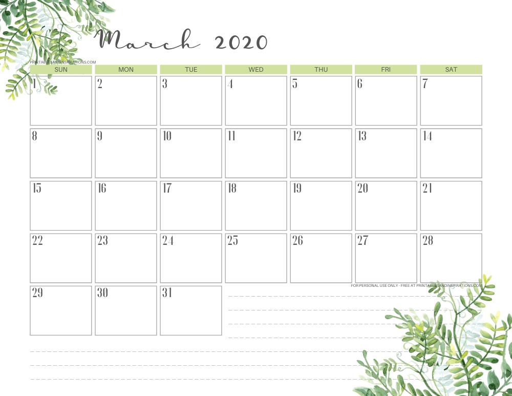 March 2020 calendar PDF - free printable monthly planner green eaves #freeprintable #printablesandinspirations