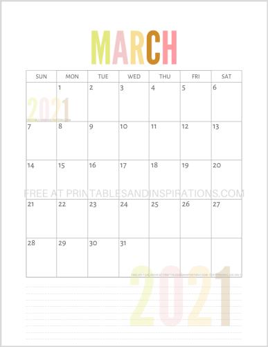 March 2021 calendar free printable