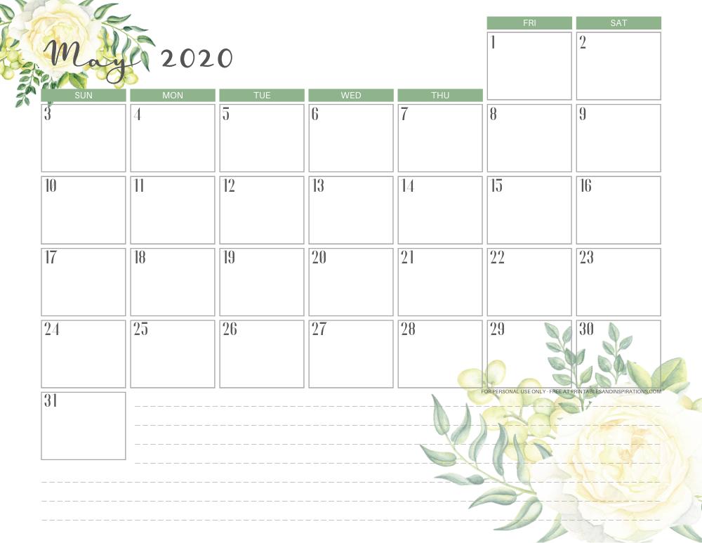 Free printable May 2020 calendar - green monthly planner #freeprintable #printablesandinspirations