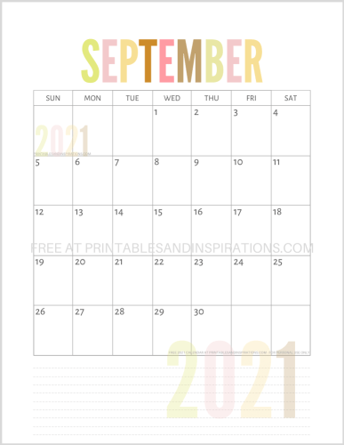 September 2021 calendar free printable pdf - downloadable 2021 monthly calendar