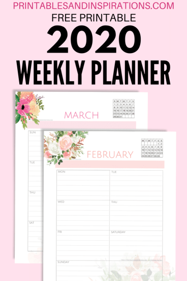 2020 Weekly Planner PDF - Free Printable Weekly Planner With 2020 Calendar. Choose a Sunday or Monday start calendar. Get your free download now! #freeprintable #printablesandinspirations #weeklyplanner