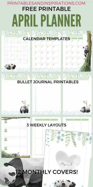 Free Printable Panda Planner PDF - Panda-themed bullet journal printable pages, free download #freeprintable #printablesandinspirations #panda #cutepanda #pandalover #bulletjournal #planneraddict