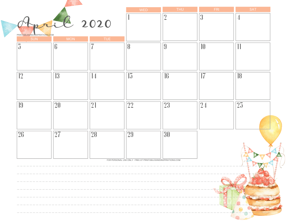 April 2020 calendar PDF - free printable monthly planner or birthday calendar theme. #freeprintable #printablesandinspirations