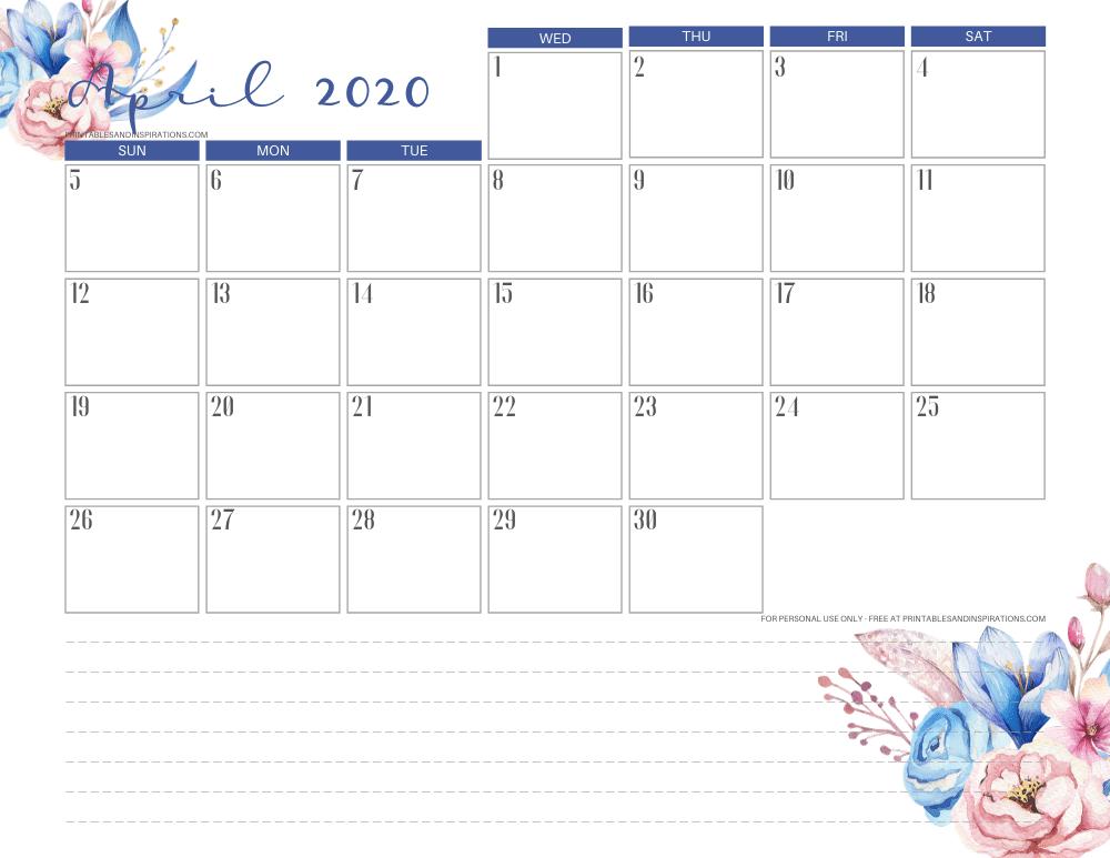April 2020 monthly calendar printable pdf