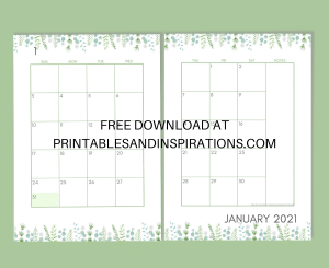 Free Printable 2021 Two Page Calendar Template - Monthly Calendar Spread #freeprintable #printablesandinspirations #2021calendar