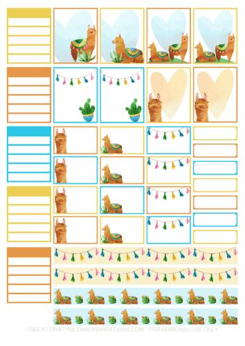 Free Printable Llama Planner Stickers - cute llama planner or bullet journal printables and planner stickers #freeprintable #printablesandinspirations #llama #bulletjournal #plannerstickers