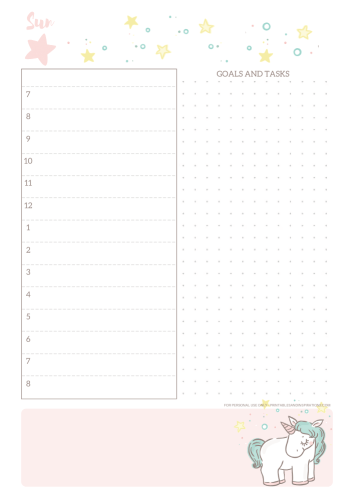 Free Printable Unicorn Daily Planner - monthly 2021 calendar with unicorn, unicorn planner pages #freeprintable #printablesandinspirations #unicorn