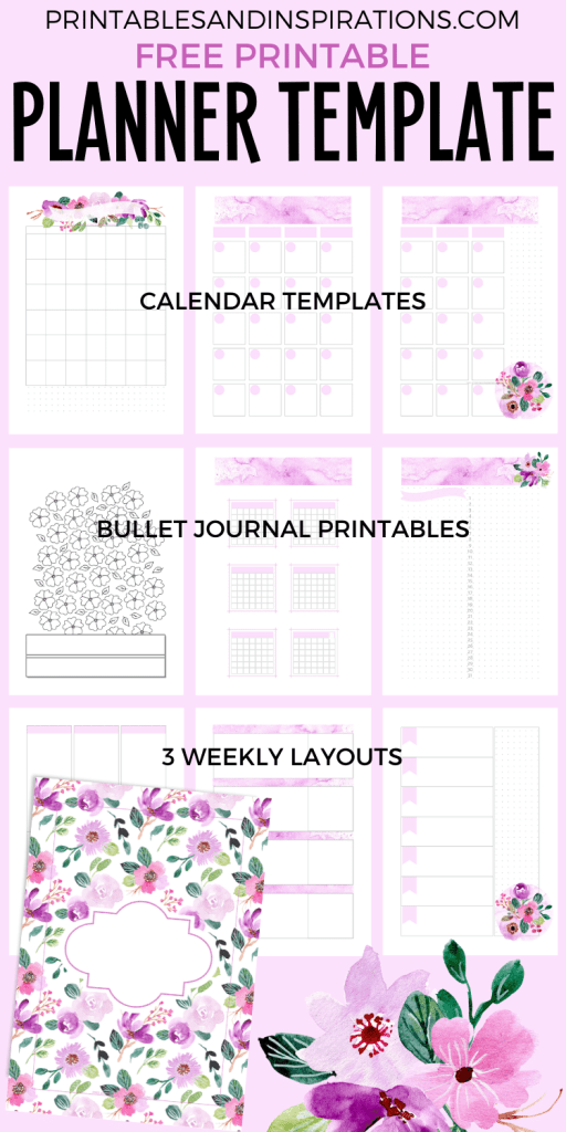 Free Printable Planner Template - printable purple planner, bullet journal #freeprintable #printablesandinspirations #bulletjournal #planneraddict #purple