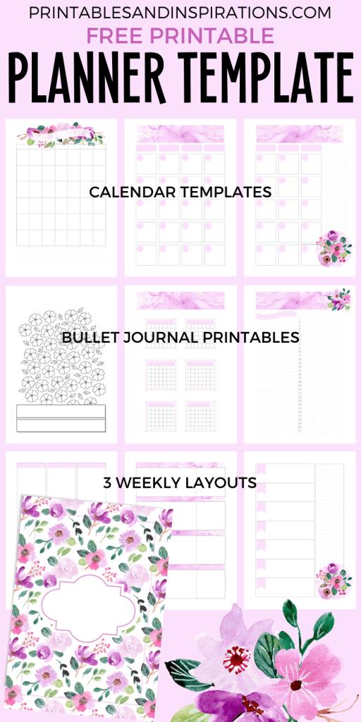 Free Printable Planner Template - printable purple planner, bullet journal #freeprintable #printablesandinspirations #bulletjournal #planneraddict #purple