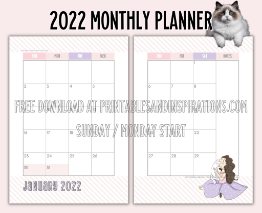 2022 Monthly Planner Cat Printable - free printable 2 page calendar spread #printablesandinspirations - SEE PREVIOUS POST TO DOWNLOAD THE COMPLETE 2022 PLANNER
