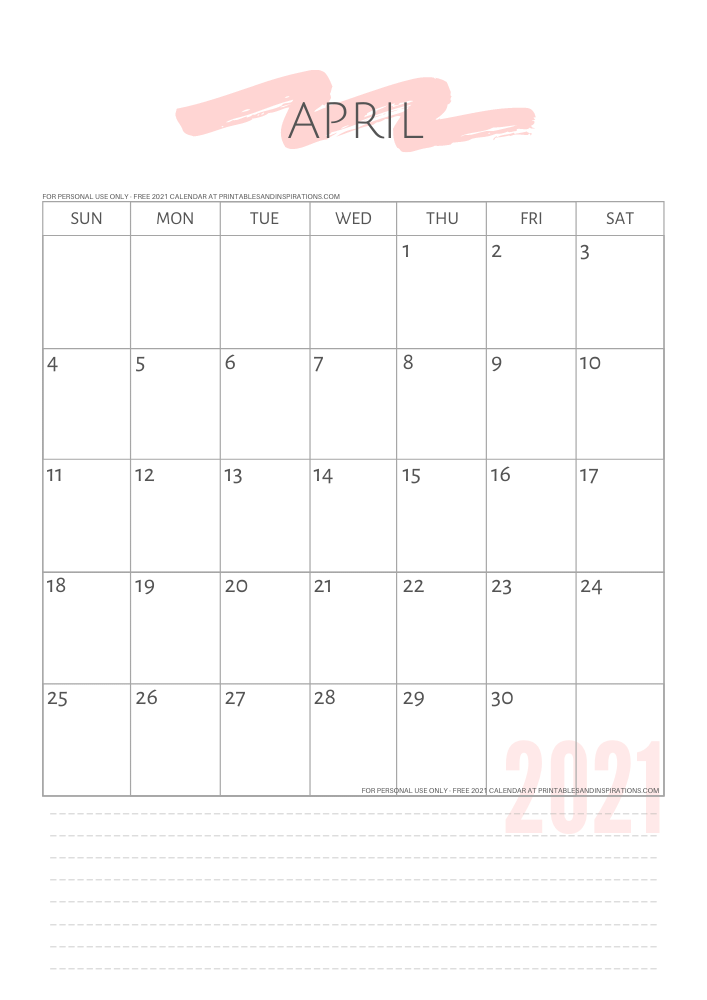 April 2021 simple calendar - free printable minimalist calendar - GO TO PREVIOUS POST TO DOWNLOAD THE PDF FILE #printablesandinspirations