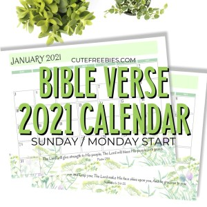 2021 Bible Verse Calendar Free Printable! - Printables and ...