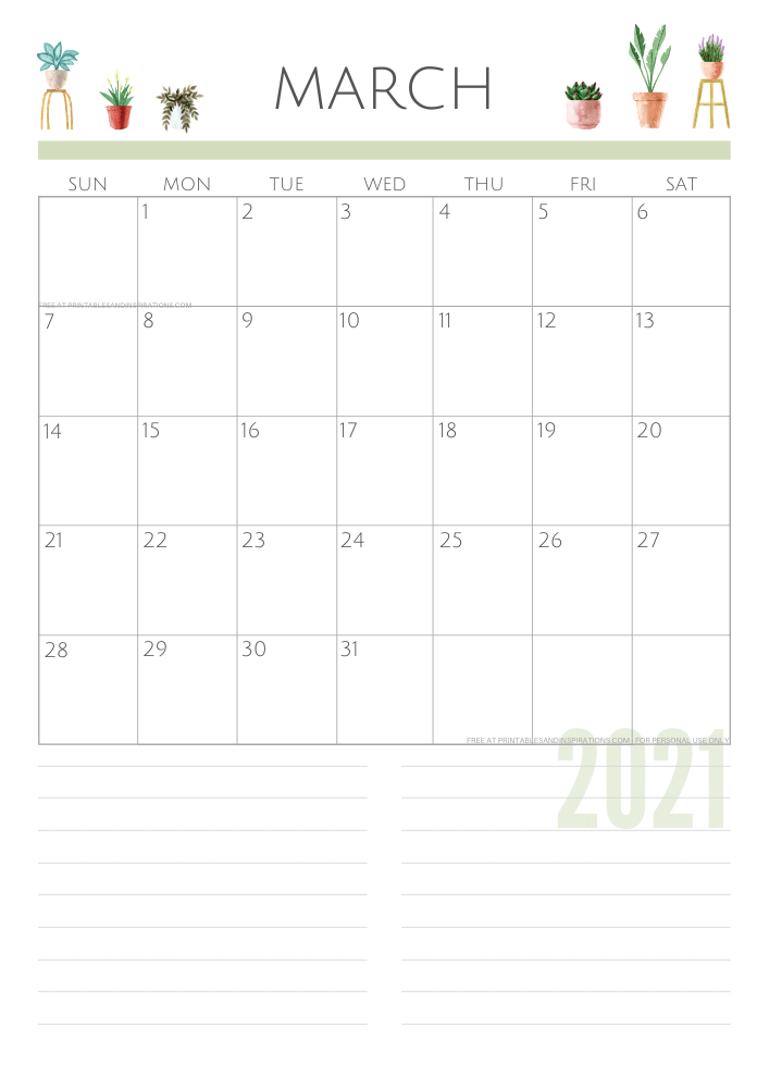 March 2021 planner - green free printable calendar #printablesandinspirations SEE PREVIOUS POST TO DOWNLOAD THE FREE PDF FILE
