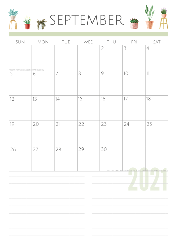 September 2021 planner - green free printable calendar #printablesandinspirations SEE PREVIOUS POST TO DOWNLOAD THE FREE PDF FILE
