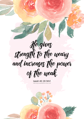 12 Free Printable Bible Verses On Healing - He gives strength to the weary - Isaiah 40:29 #bibleverse #printablesandinspirations SEE PREVIOUS POST TO DOWNLOAD THE PDF FILE