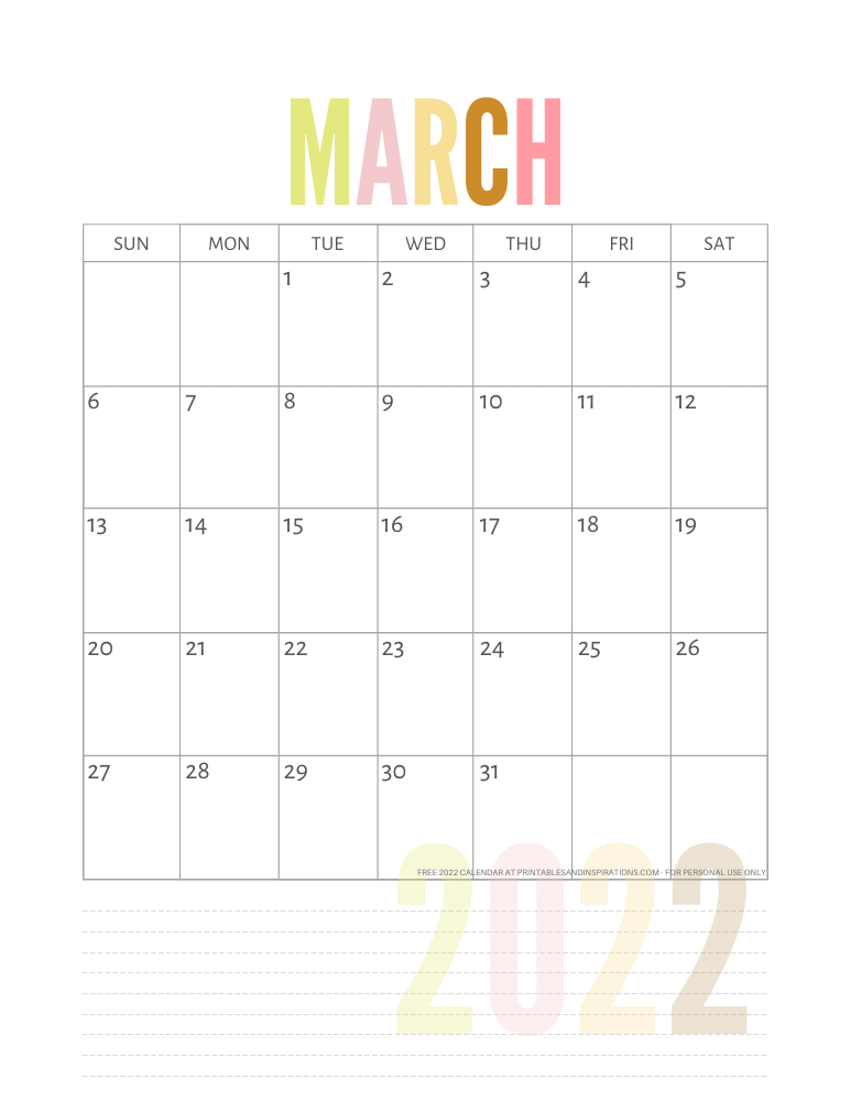 March 2022 calendar free printable pdf - downloadable 2022 monthly calendar - SEE PREVIOUS POST TO DOWNLOAD THE PDF FILE #printablesandinspirations