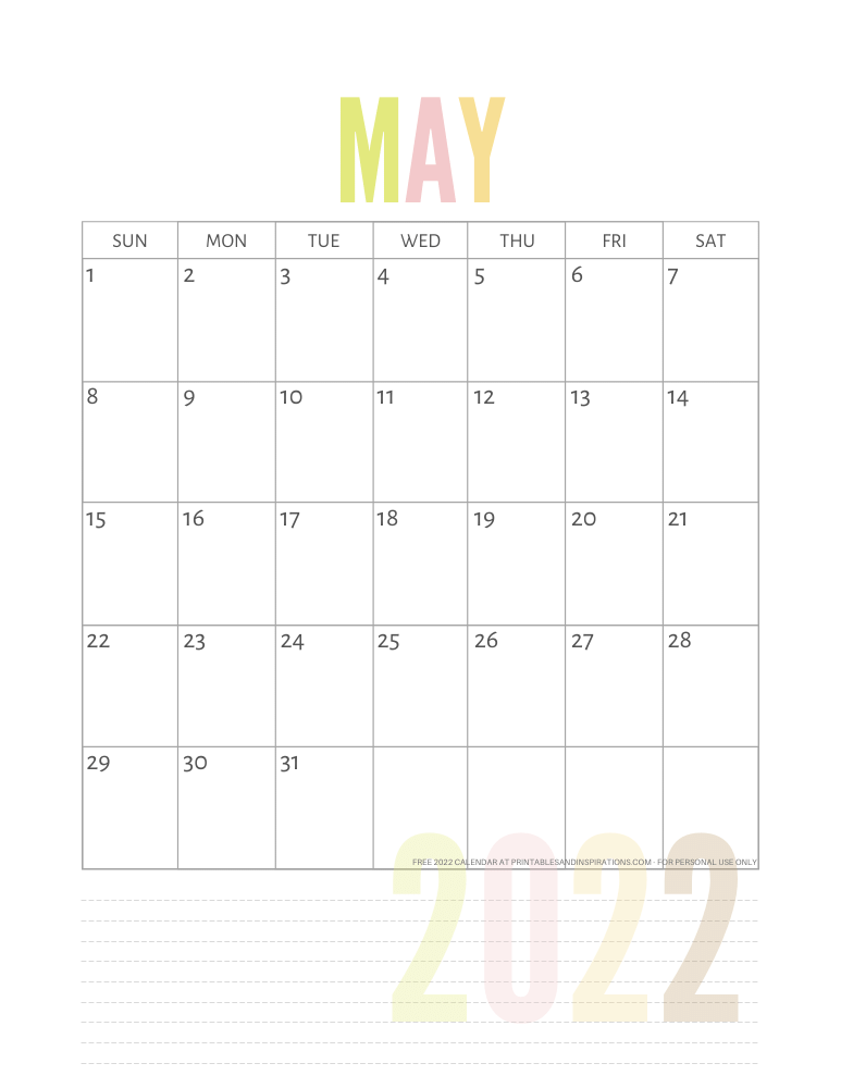 May 2022 calendar free printable pdf - downloadable 2022 monthly calendar - SEE PREVIOUS POST TO DOWNLOAD THE PDF FILE #printablesandinspirations