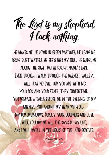 12 Free Printable Bible Verses On Healing - The Lord is my Shepherd - Psalm 23 #bibleverse #printablesandinspirations SEE PREVIOUS POST TO DOWNLOAD THE PDF FILE