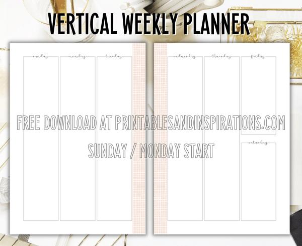 Vertical Weekly Planner - Free Printable Boss Lady Planner #printablesandinspirations